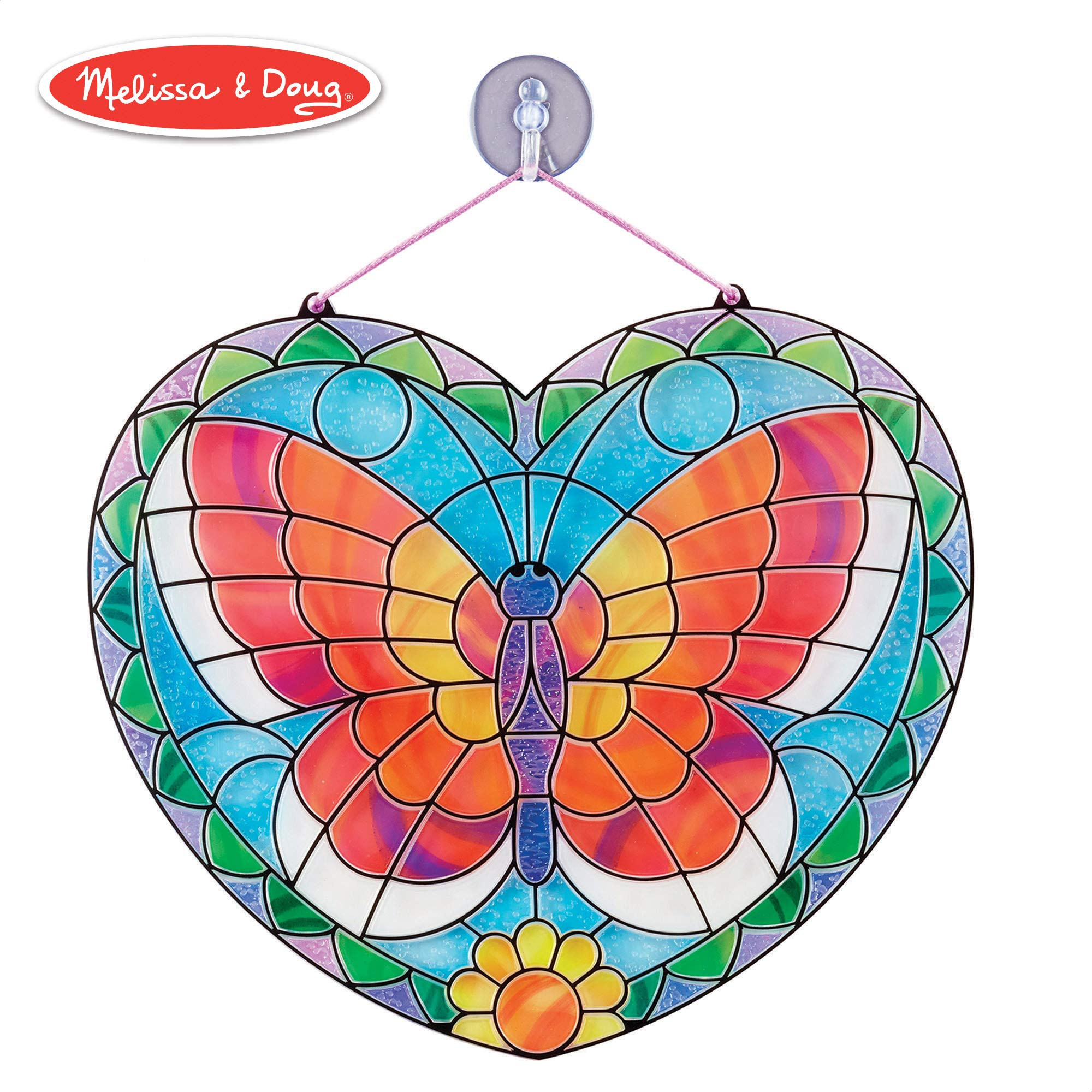 Melissa & Doug Stained Glass Made Easy Activity Kit, Arts and Crafts, Develops Problem Solving Skills, Butterfly, 140+ Stickers, 10.5'' H x 10'' W x 0.25'' L, Multi-color by Melissa & Doug