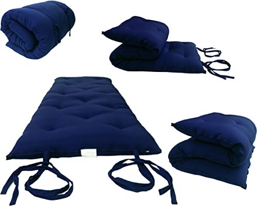 D D Futon Furniture Full Size Navy Blue Traditional Japanese Floor Rolling Futon Mattresses, Cotton Foam Cushion Mats