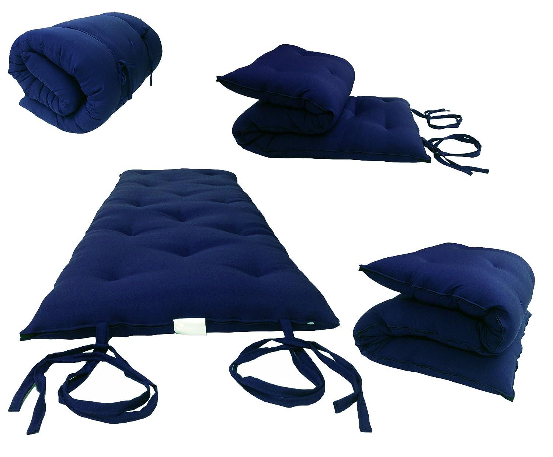 D/&D Futon Furniture Full Size Navy Blue Traditional Japanese Floor Rolling Futon Mattresses Cotton//Foam Cushion Mats