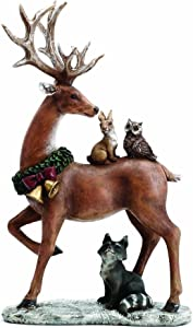 Standing Reindeer with Woodland Animals 13.5 Inch Resin Christmas Tabletop Figurine