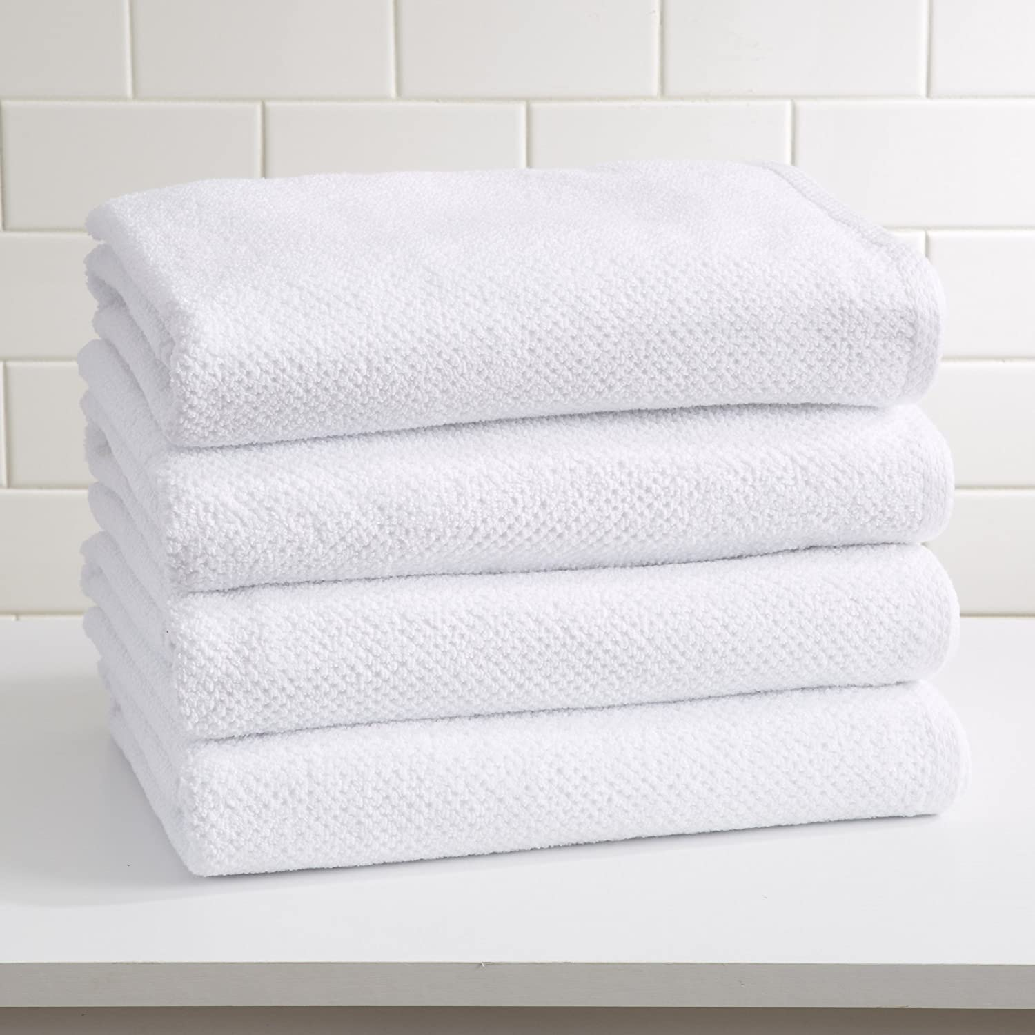 100% Cotton Quick-Dry Bath Towel Set (30 x 52 inches) Highly Absorbent, Textured Popcorn Weave Bath Towels. Acacia Collection (Set of 4, Optic White)