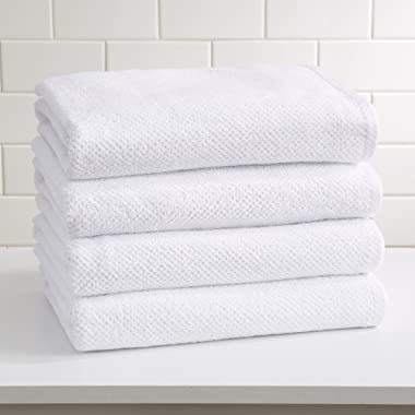 Great Bay Home 4-Pack 100% Cotton, Ultra-Absorbent Popcorn Bath Towels. 6 Elegant Solid Colors. Popcorn Weave. Acacia Collection. (Bath 4pk, Optic White)