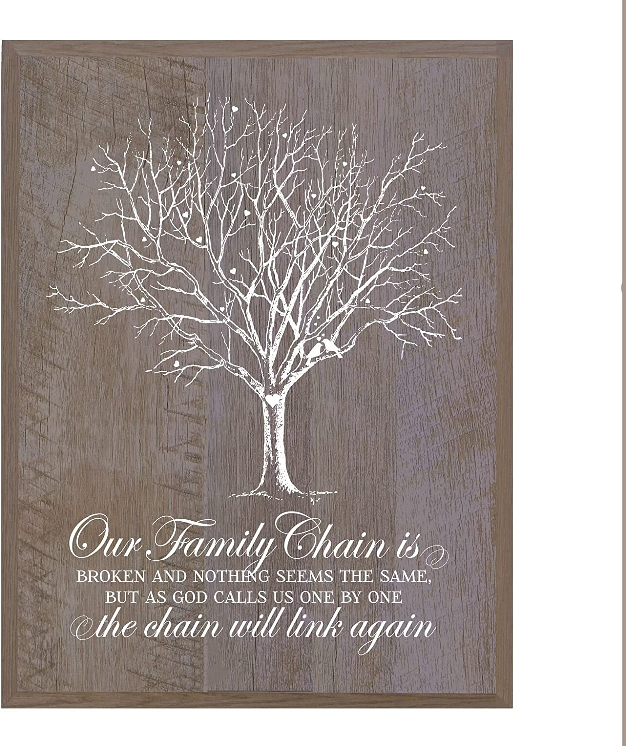 LifeSong Milestones Our Family Chain is Broken Poem Memorial Sympathy Gift for Loss of Loved One Bereavement Gift Wall Plaque Black, 6x8