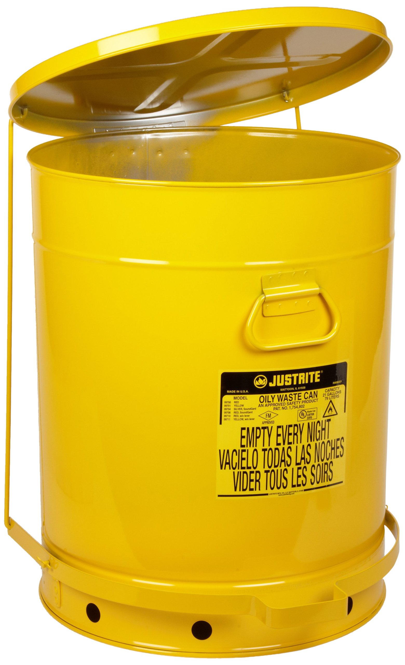 Justrite 09701 21 Gallon, Galvanized-Steel Yellow Safety Cans for Oily Waste