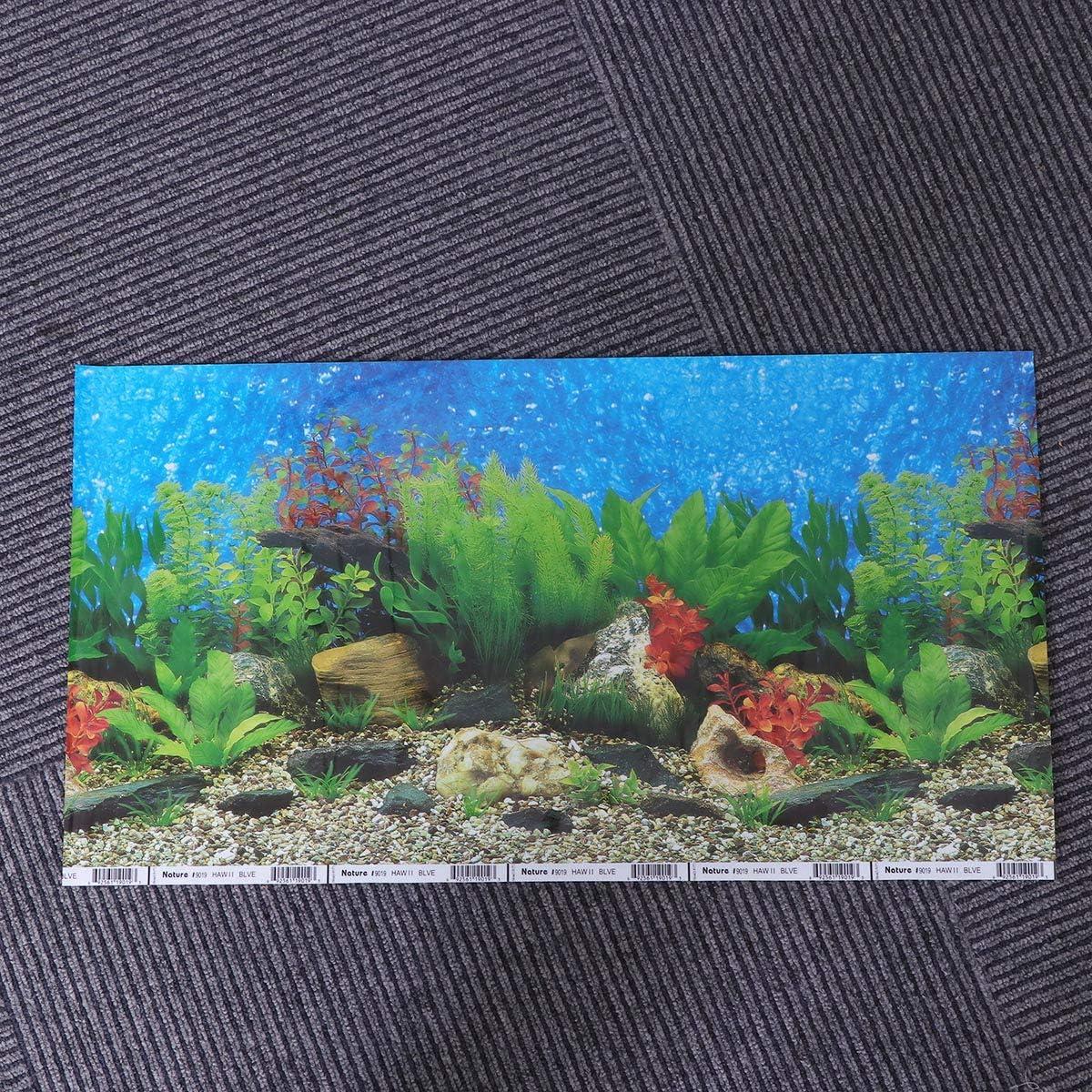 52x30cm POPETPOP Aquarium Fish Tank Background Sticker,3D Double-Sided Adhesive Wallpaper Fish Tank Decorative Pictures Underwater Backdrop Image Decor