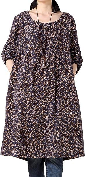 Vestidos De Camisa Vendimia Vestido La De Elegante Floral De ...