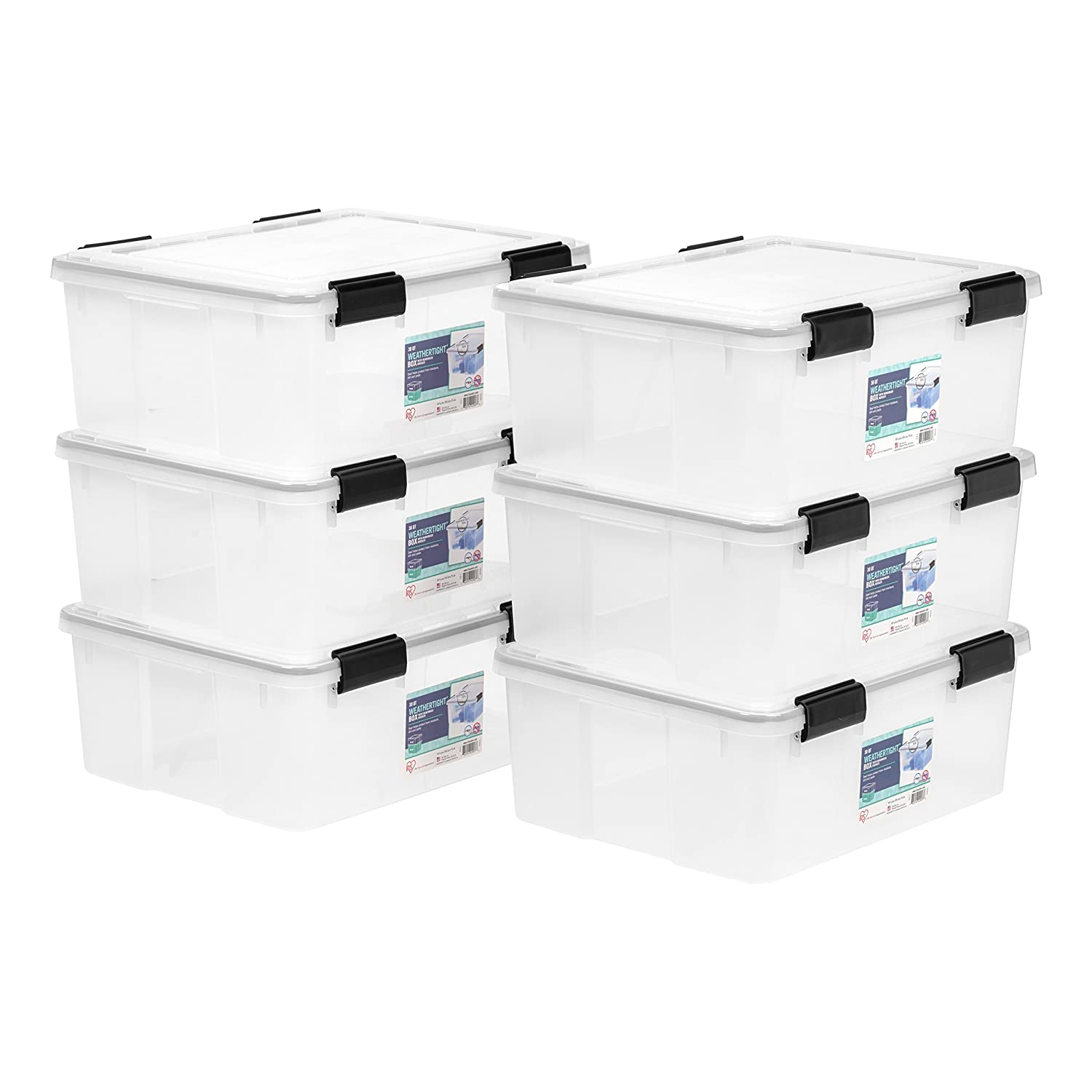 IRIS 19 Quart Weathertight Storage Box, 6 Pack, Clear IRIS USA Inc. 585420