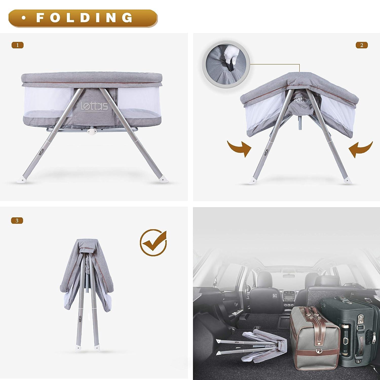 LETTAS 2-in-1 Babywiege /& portables Babybett Reisebett Faltbare Schaukelwiege Stubenwagen mit Matratze 0-6 Monate//0-15kgs