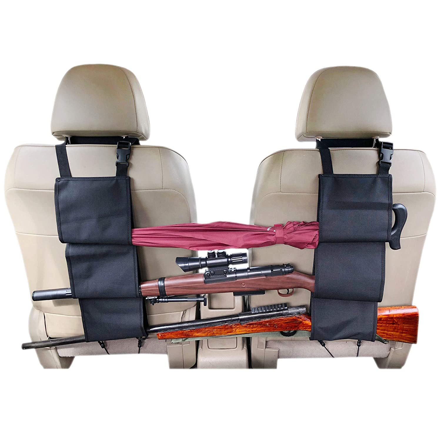Lookaka Truck Gun Rack to Hold 3 Rifles on The Car Concealed Seat Back, Work to Jeep/Sedans/Pickup/Trucks/SUV/Mini Vans and More