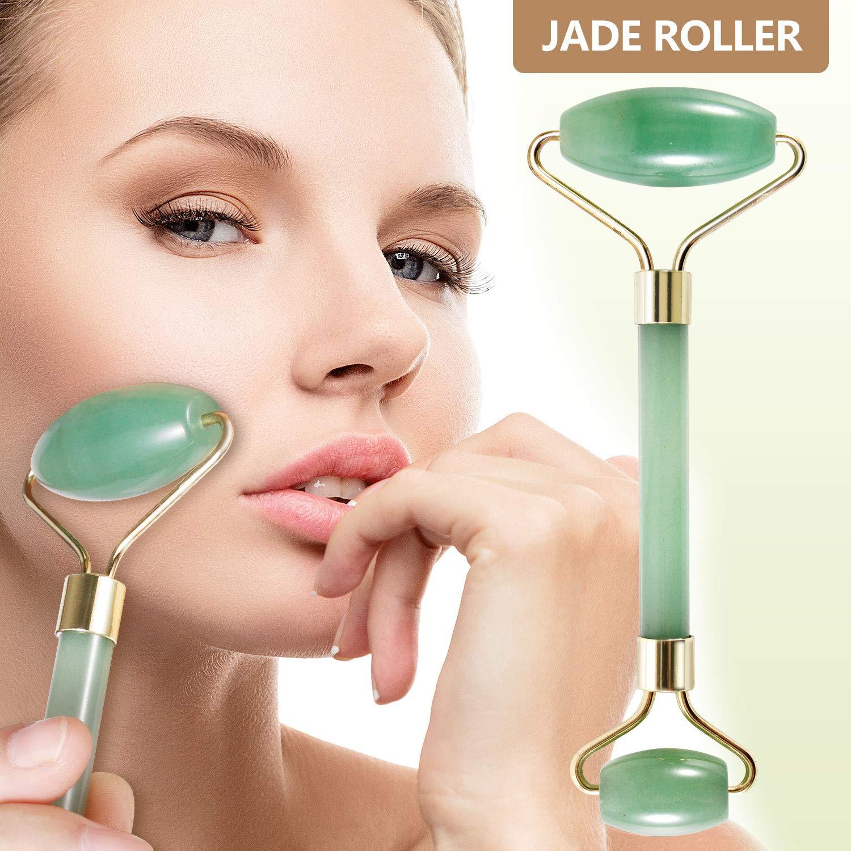 Jade Roller for Face, Real Jade Roller Massager Jade Facial Roller - Anti Aging Face Eye Neck Beauty Roller For Slimming & Firming - Rejuvenate Skin & Remove Wrinkles - Premium Natural Jade 100% Jade Comforone