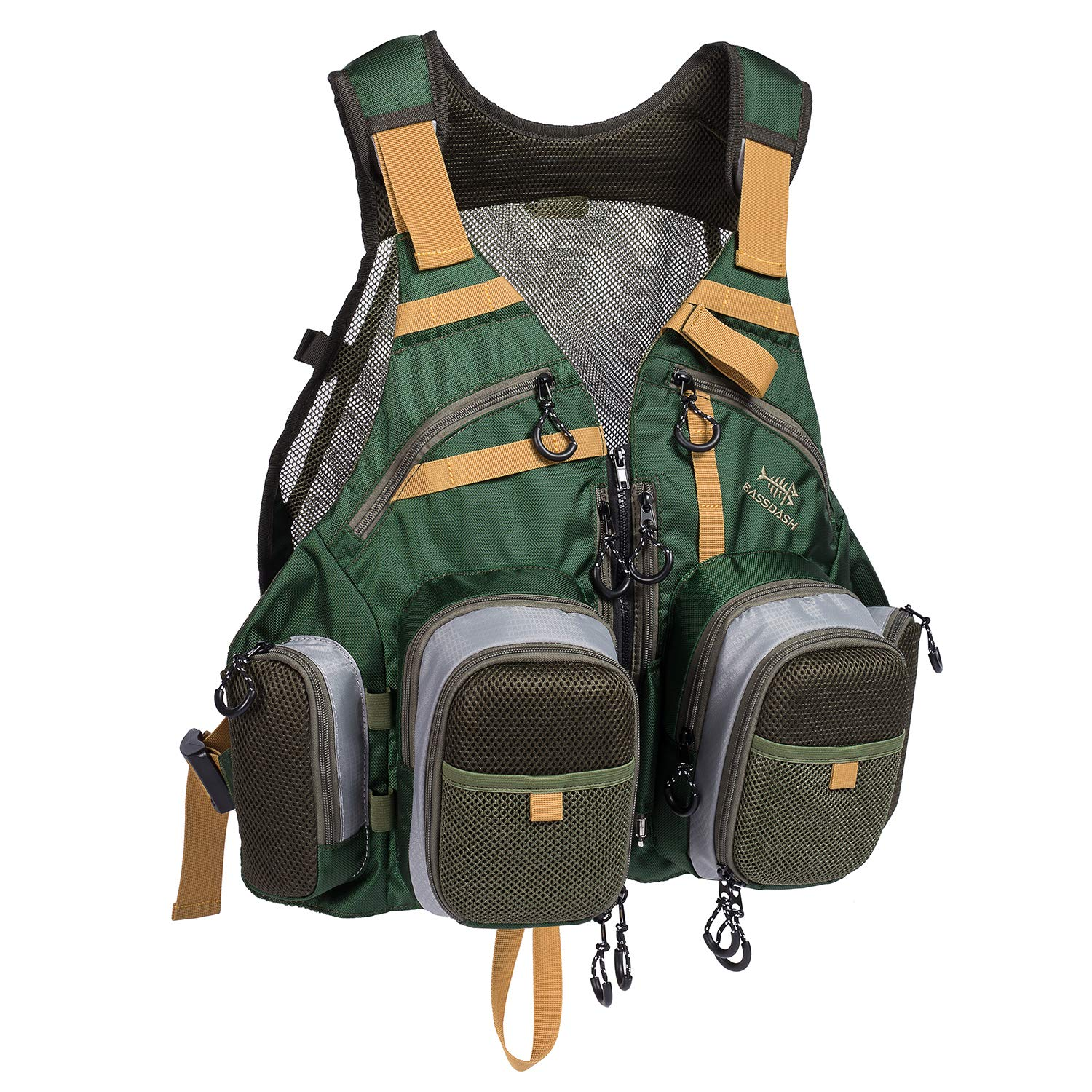 Bassdash Strap Fishing Vest Adjustable for Men and Women, for Fly Bass Fishing and Outdoor Activities (2019 New Blackish Green)