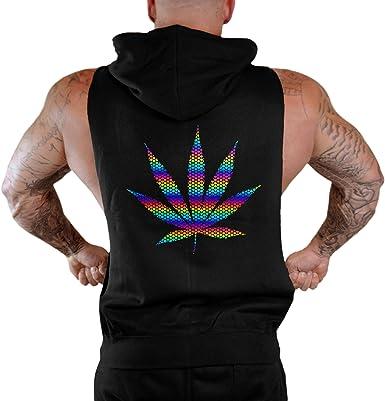 Mens Rainbow Foil Polka Dot Weed Leaf Sleeveless Vest Hoodie