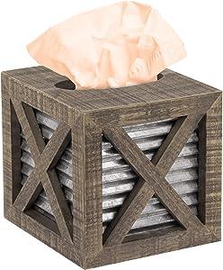 Autumn Alley Barn Door Rustic Square Tissue Box Cover | Farmhouse Bathroom Accessories | Rustic Bathroom Décor Tissue Holder | Wood Tissue Box Cover with Galvanized Decor