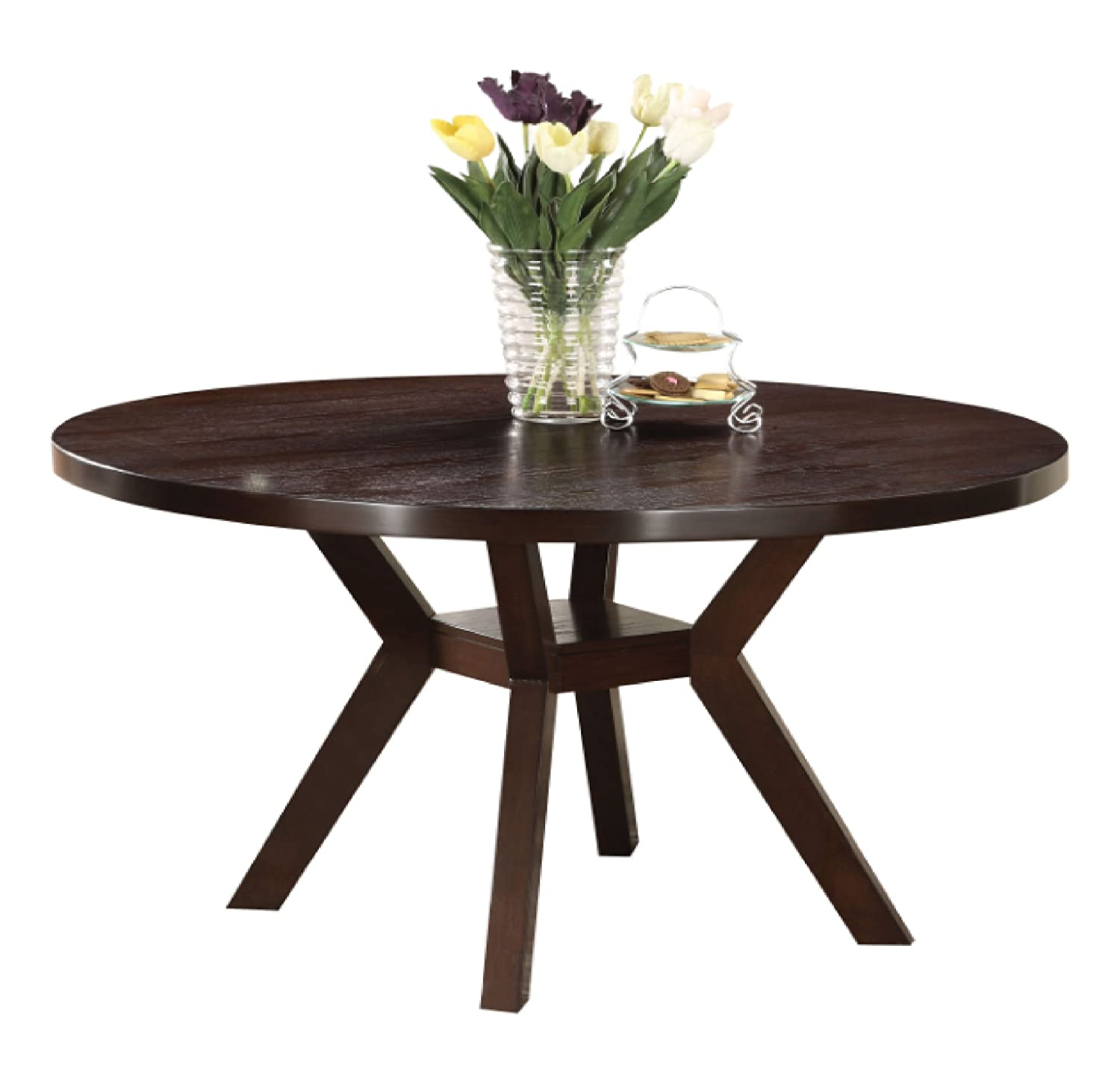 amazoncom acme 16250 drake espresso round dining table 48 inch tables - Dining Table Round Wood