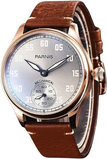 PARNIS 2149 Reloj de hombre mecánico cuerda manual acero inoxidable dorado Pulsera de reloj Seagull ST36 Cristal Mineral cebollas Corona pulsera de piel ...