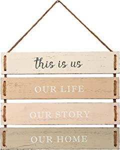 """Barnyard Designs This is Us, Our Life, Our Story, Our Home Quote Wall Decor, Decorative Wood Plank Hanging Sign 17"""" x 14"""