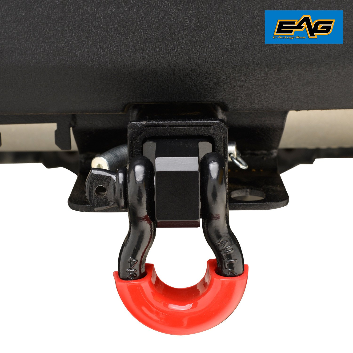 EAG Receiver Hitch D-ring with 3/4'' Shackle for 2'' Receivers Includes Red D-ring Isolators and Hitch Pin