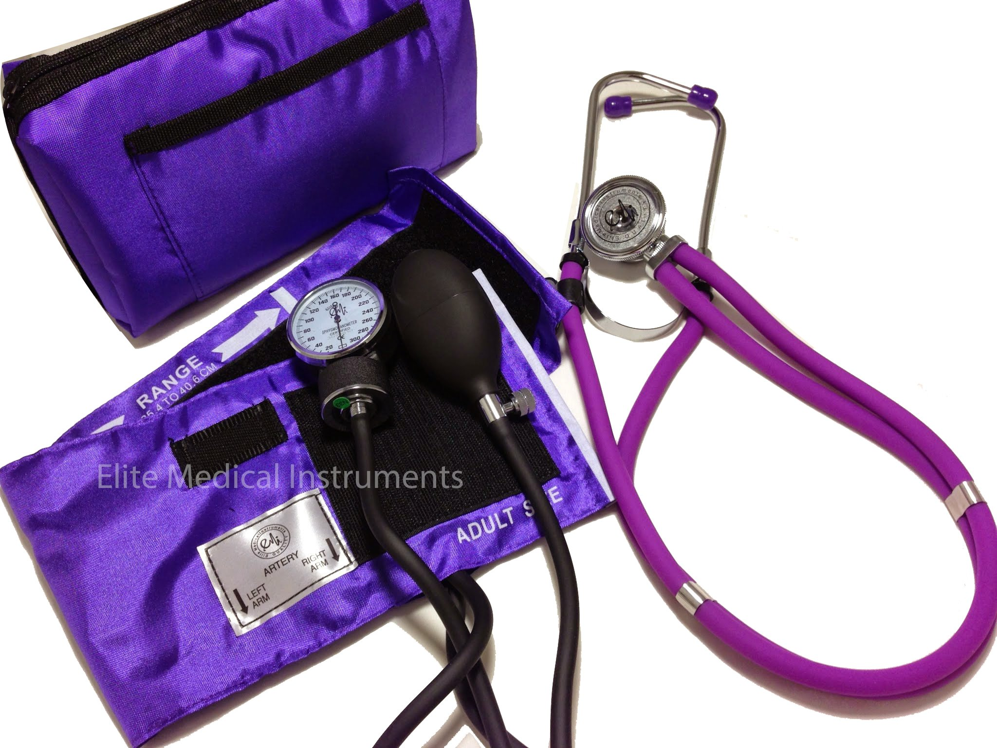 EMI Professional Deluxe PURPLE Aneroid Sphygmomanometer and Sprague Rappaport Stethoscope Set Kit #330