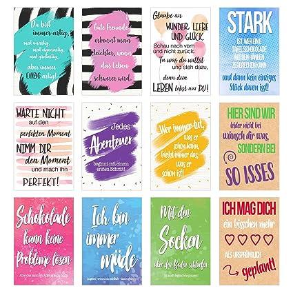 Set 12 Postkarten Mit Sprüchen Karten Mit Spruch
