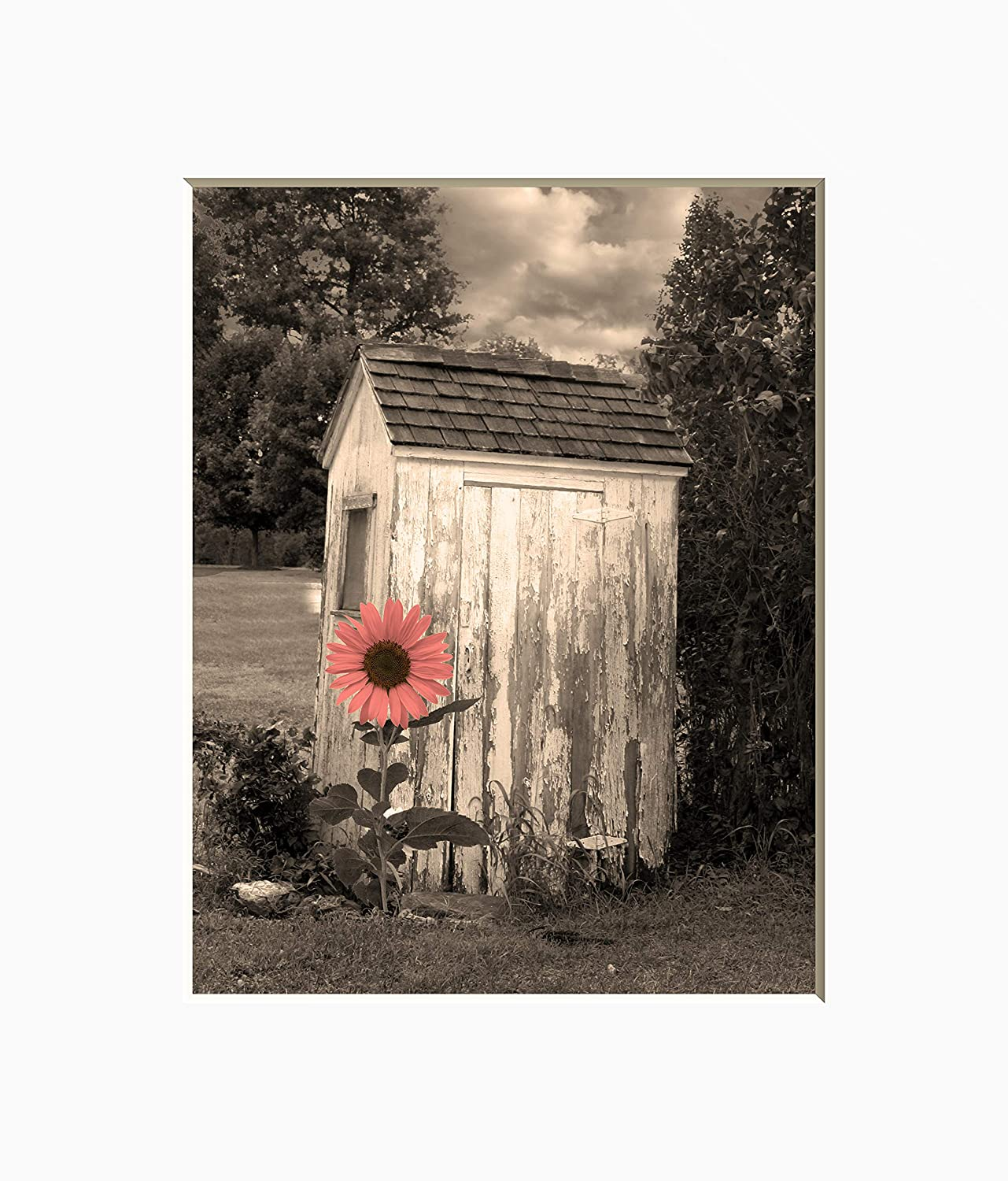 Farmhouse Bathroom Wall Art, Sunflower Outhouse Country Theme Bath Artwork 8x10 Inch Picture With 11x14 White Mat