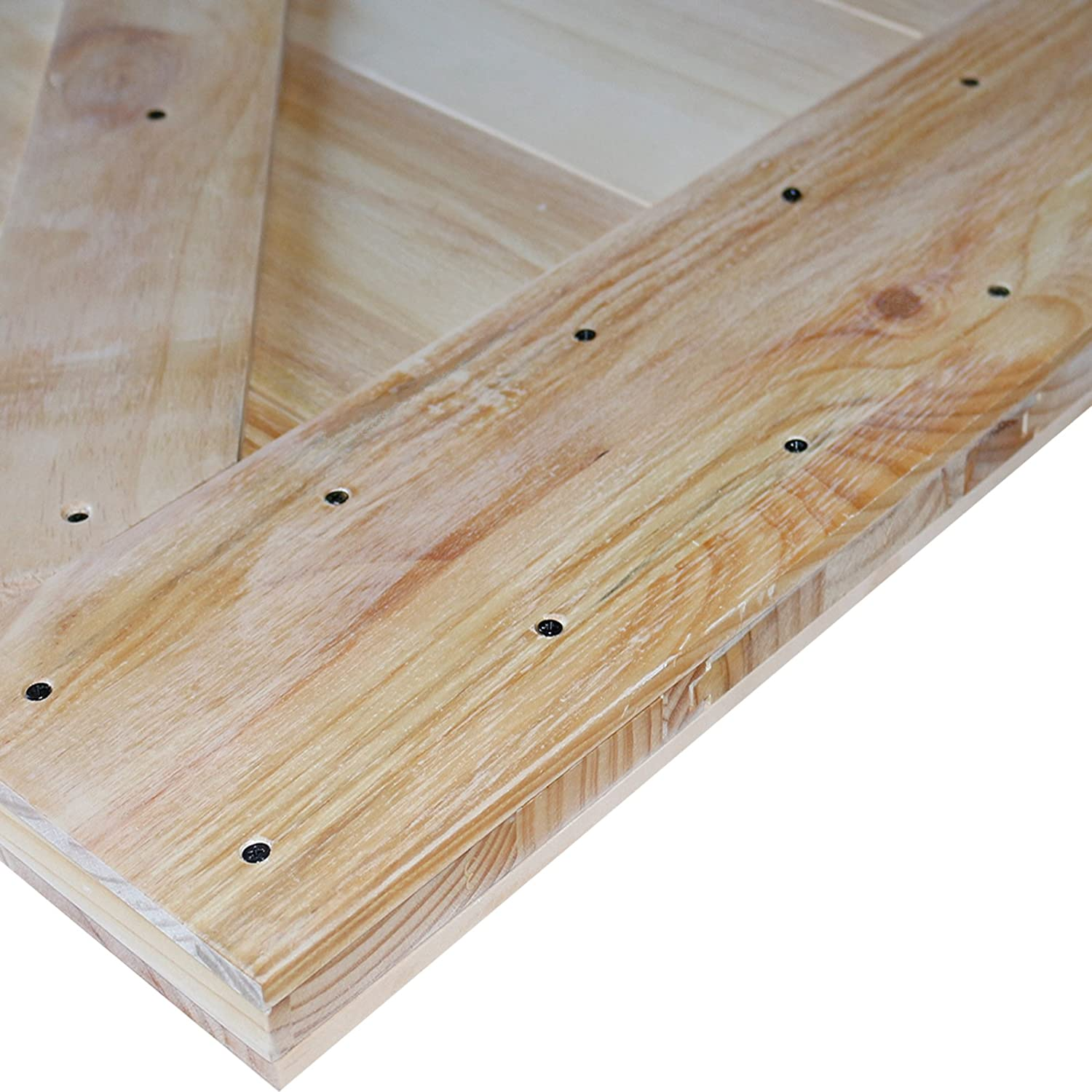 """TMS 36/"""" x 84/"""" Two-Side X-Panel Natural Wood Color Plank Knotty Pine Barn Sliding Interior Door"""