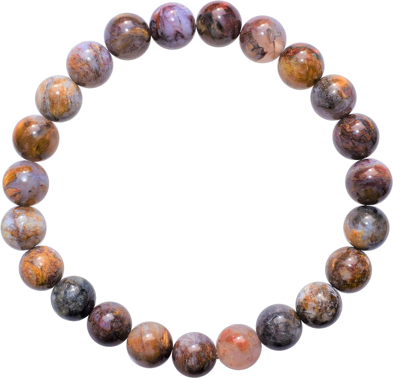 "Zenergy Gems Charged Premium 7"" Natural Pietersite Crystal 8mm Bead Bracelet + Selenite Heart Charging Crystal Included"