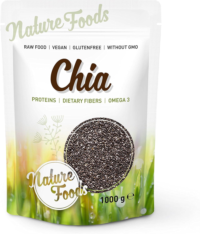 NATUREFOODS Semillas de Chia de Calidad Premium 1kg - Granos de ...