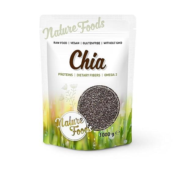 NATUREFOODS Semillas de Chia de Calidad Premium 1kg - Granos de Chia de la Planta Salvia hispanica