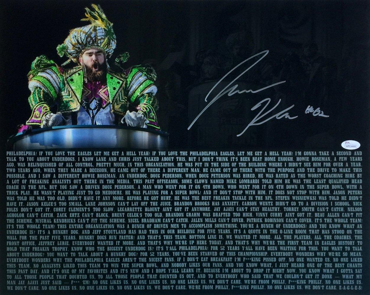Jason Kelce Signed 16x20 Eagles Super Bowl 52 Parade Speech Transcript Photo JSA