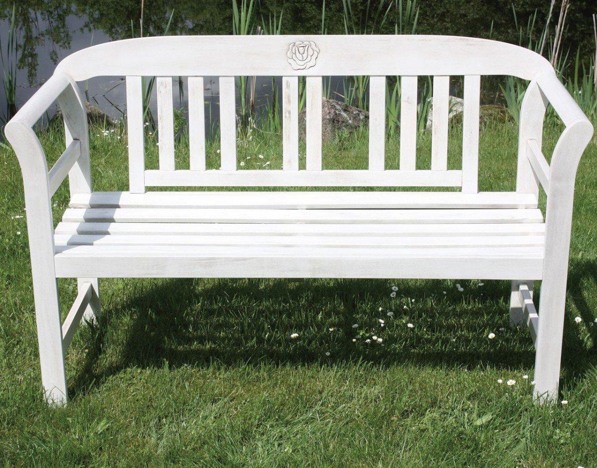 Dreams4Home Gartenbank 'Rosl' - Sitzbank, Bank, Holzbank, Consul Garden, 2 Sitzer B/T/H: 110 x 45 x 42 cm, Akazienholz, verzinkte Beschläge, Gartenmöbel, Terrasse, Balkon, Outdoor, white washed lackiert