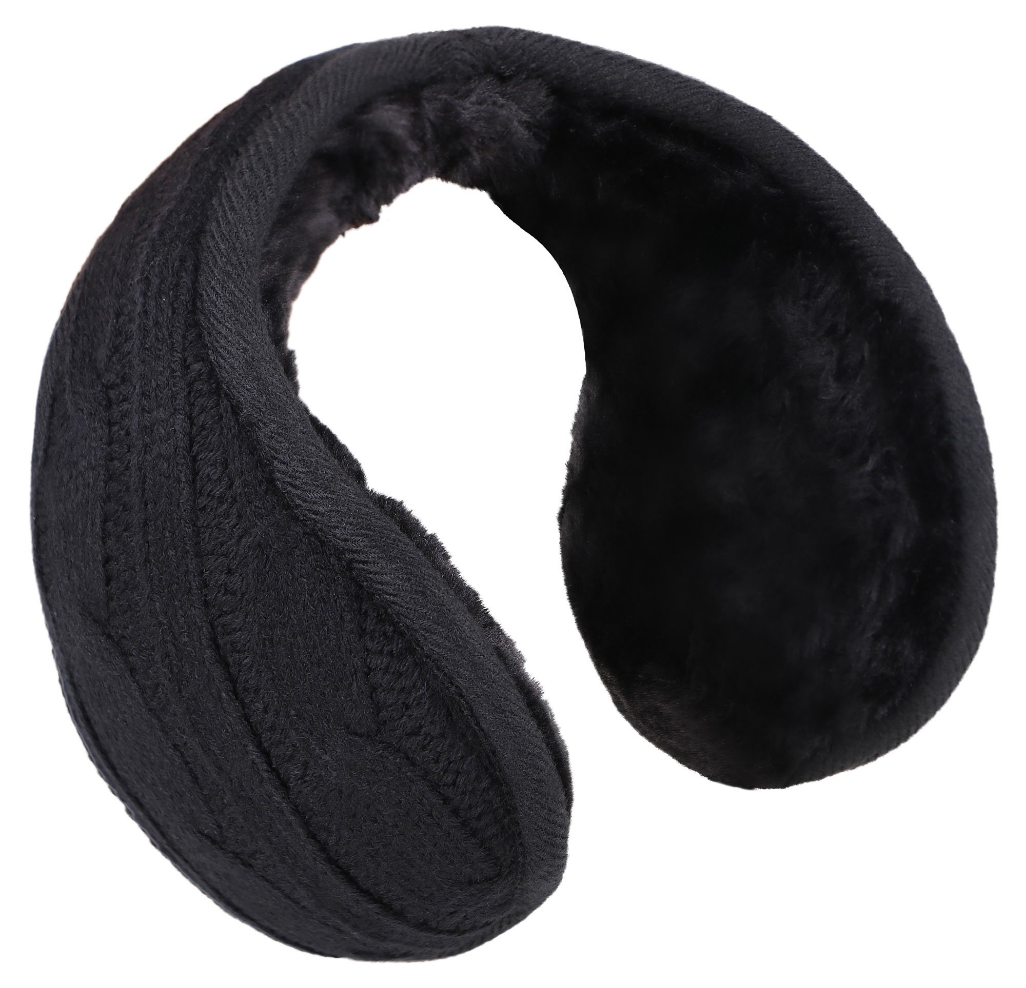 Men's Knit Earmuffs Earwarmer Fur Lined Winter Outdoor Ear Muffs, Black