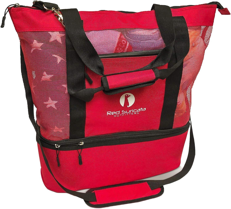 Red Beach Tote with Leak-proof Rigid Cooler Beach Bags for Women /& Men Red Suricata Mesh Beach Bag Cooler