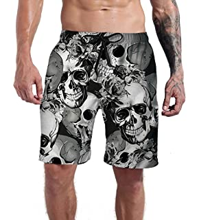 Mens Beach Shorts Skull Sharp Dagger Art Quick Dry Swim Adjustable Board Shorts