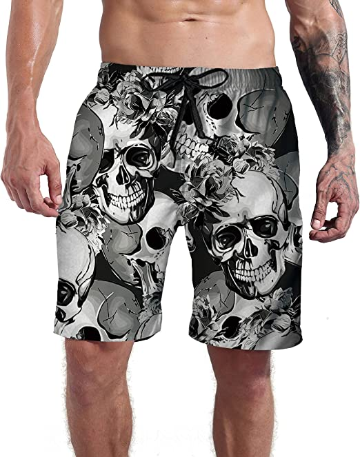 Mens Cool Swim Trunks Quick Dry Drawstring Board Shorts with Pockets