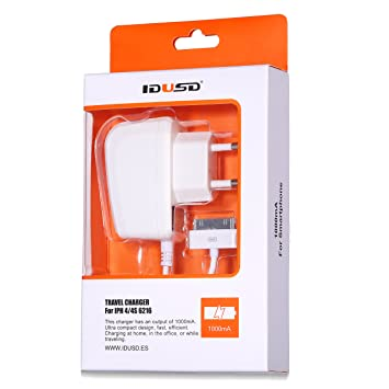 IDUSD cargador viaje micro-usb con cable enchufe europeo buena calida y durabilidad (IPH4/4S blanco)