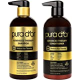 PURA D'OR Advanced Therapy Shampoo & Conditioner System, 16 Fluid Ounce