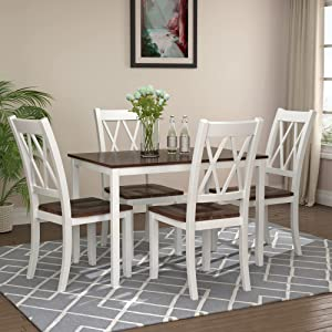 PovKeever 5-Piece Dining Table Set Home Kitchen Table and Chairs Wood Dining Set (White+Cherry)