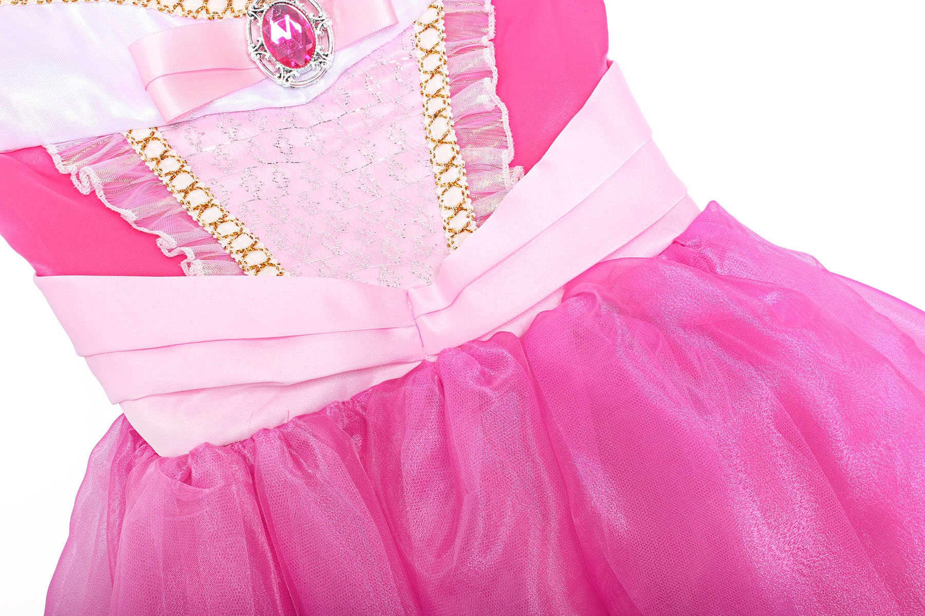 ReliBeauty Girls Drop Shoulder Princess Aurora Costume Dress up, Hot Pink, 7-8 by ReliBeauty (Image #4)