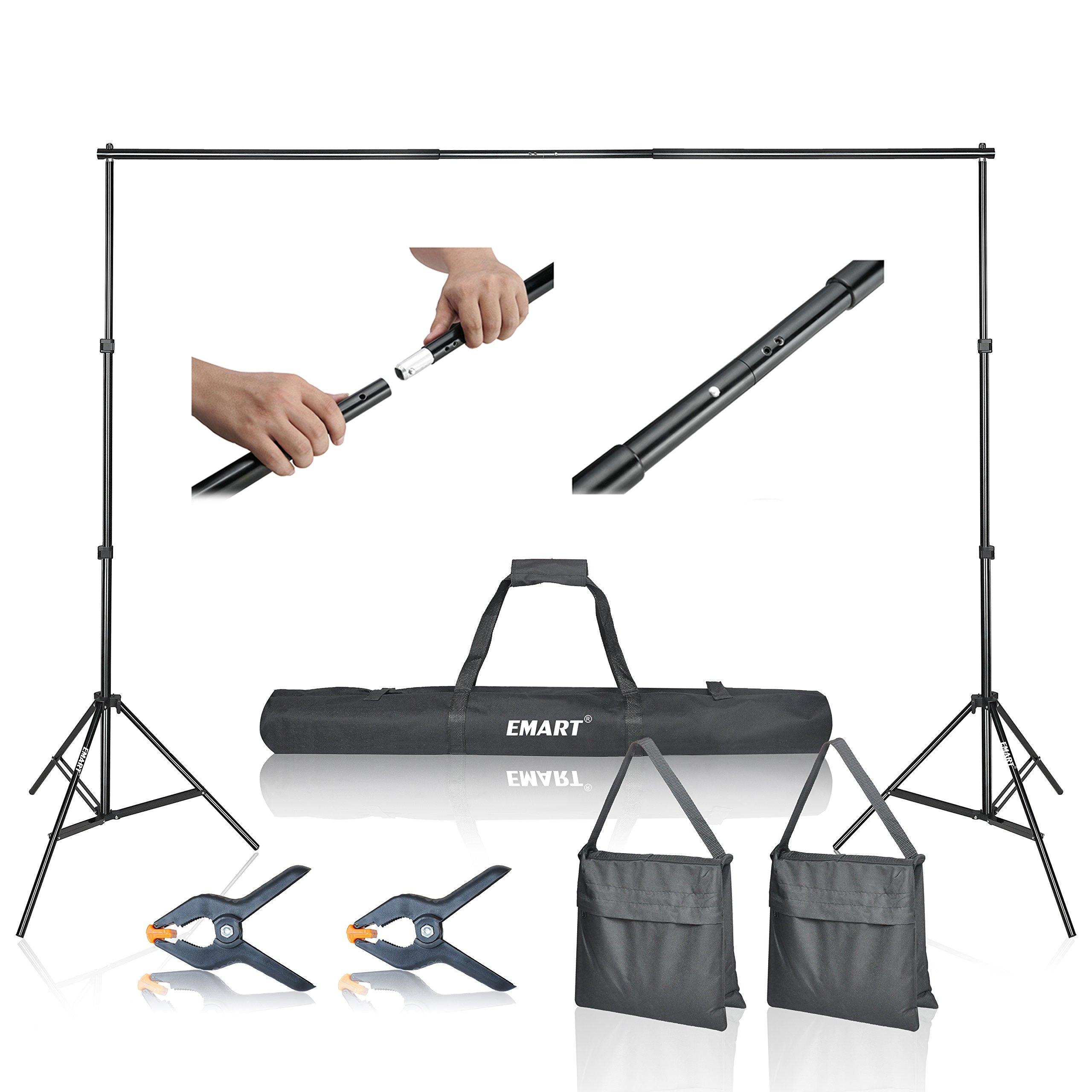 Emart Photo Video Studio 10Ft Adjustable Background Stand Backdrop Support System Kit with Carry Bag by EMART