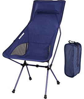 MARCHWAY Lightweight Portable Folding High Back Camping Chair With Pillow  For Outdoor Sport And Travel (