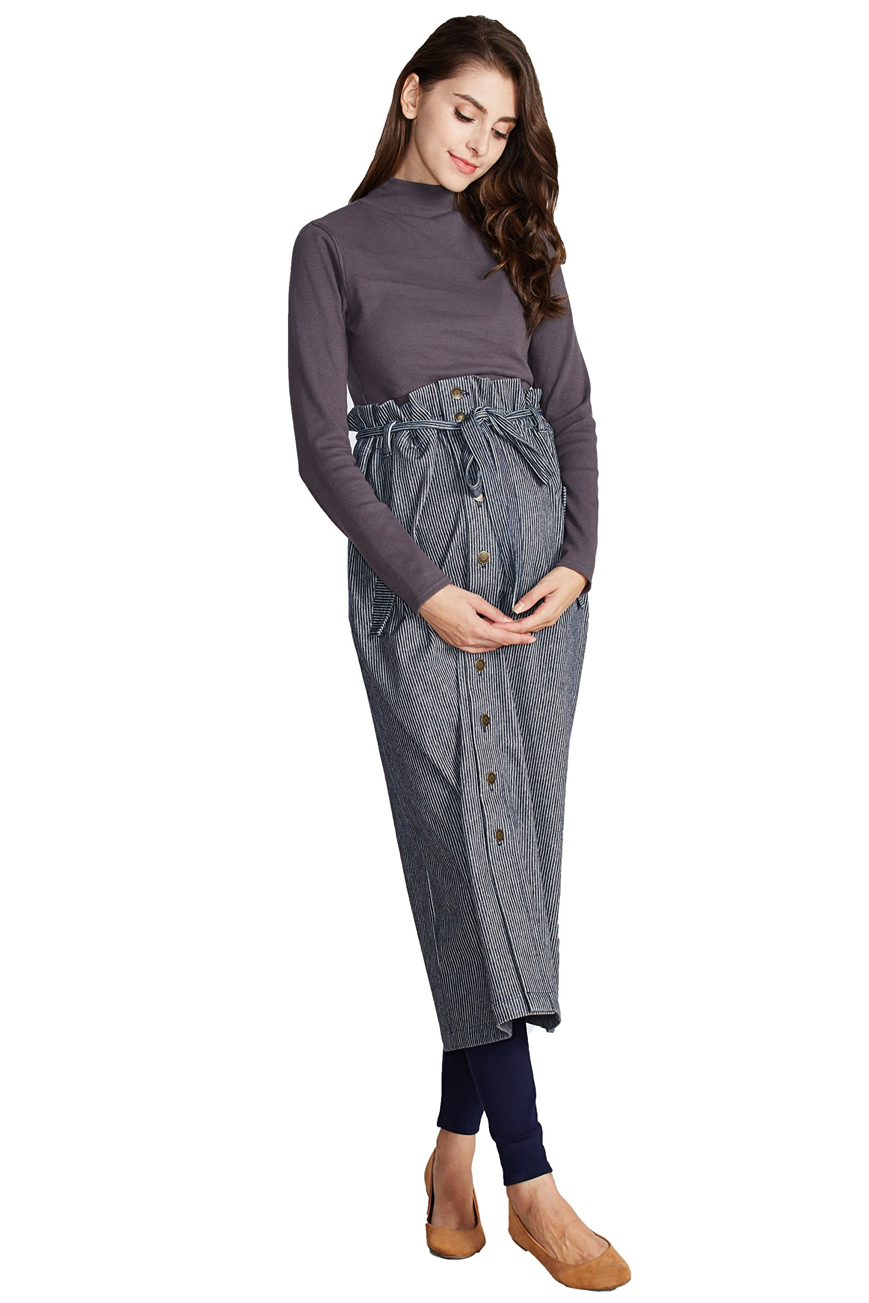 Sweet Mommy Maternity Maxi Jeans Skirt With Suspenders Straps (F, Blue Stripe)