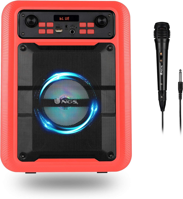 NGS Roller Lingo Red - Altavoz Portátil de 20W Compatible con Tecnología Bluetooth 5.0 y True Wireless Stereo (USB/AUX/Micro SD) Incluye micrófono. Color Rojo