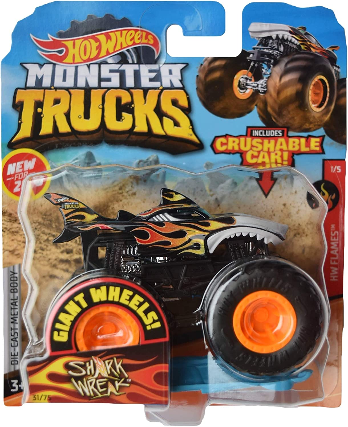 Hot Wheels Monster Trucks 1:64 Scale Shark Wreak 31/75 Includes Crushable Car