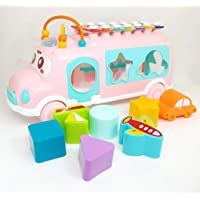 Jiada Pull Along School Bus Toy with Xylophone, Shape Sorter - Assorted Colours