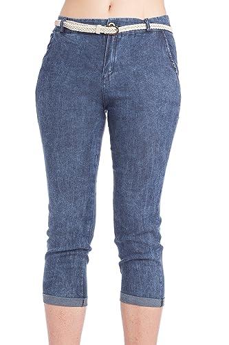 Abbino K121CJ Pantalone Donna Ragazza – Made in Italy – 1 Colore – Pant Mezza Stagione Primavera Estate Autunno Slim Fit Casual Tempo Libero Lungo Laterali Alla Moda Elegante – Blu Jeans – L (46)
