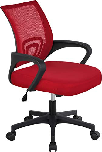 Yaheetech Computer Chair Ergonomic Office Chair Mid-Back Desk Chair w Armrest and Swivel Caster