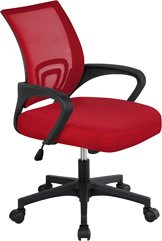 Amazon Com Topeakmart Office Chair Ergonomic Desk Chair Computer Task Chair Mesh With Armrests And Lumbar Support For Home Office Conference Study Room Red Furniture Decor