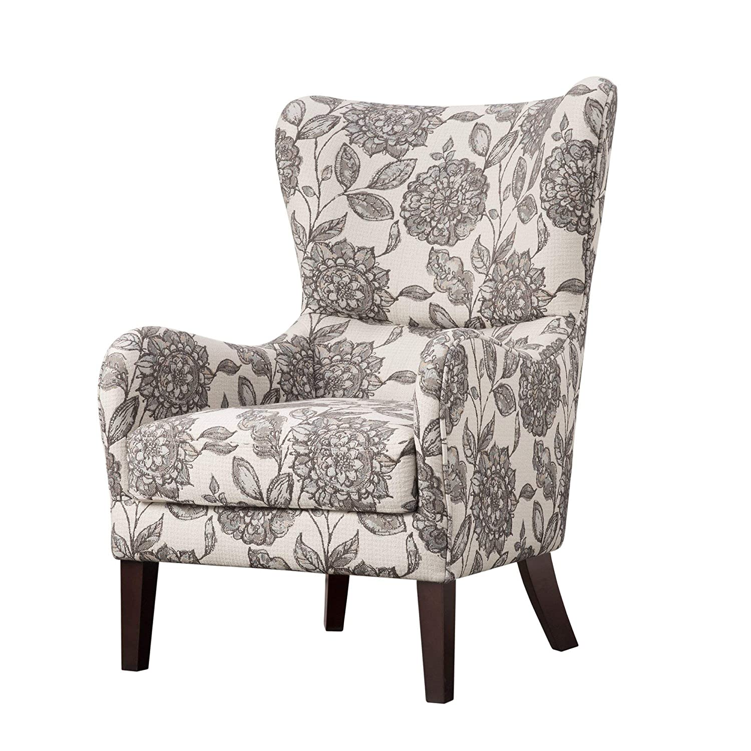 Madison park fpf18 0428 arianna accent hardwood faux linen modern contemporary style living room sofa furniture swoop wing arm bedroom chairs seats deep