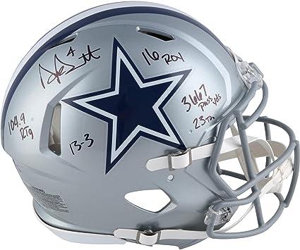 b15b44f4a18 Dak Prescott Dallas Cowboys Autographed Riddell Authentic Pro-Line Helmet  with Multiple Inscriptions - Fanatics