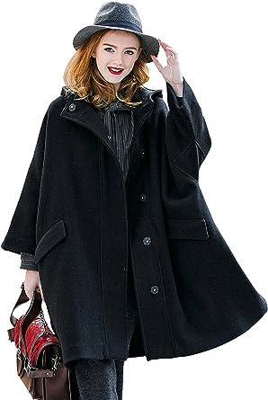 Women Long Sleeve Preppy Style England Hooded Woolen Autumn Winter Overcoat